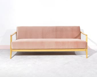 Pink Danish Three Seater Sofa Bed