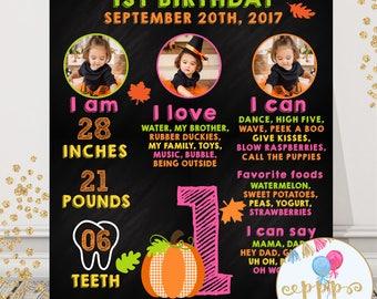 Fall First Birthday Chalkboard, First Birthday, Pumpkin Birthday, Photo Birthday Board