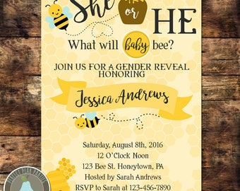 What Will It Bee Gender Reveal Invitations | Bumble Bee Baby Shower Invitation