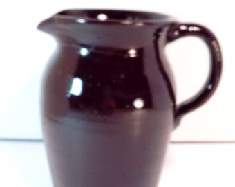 brown stoneware pitcher ~ solid brown ~ unmarked ~ home decor: country home, farm house, rustic, vintage, barn yard