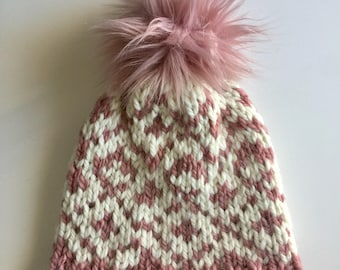 Beautiful dusty rose knit winter hat with faux fur Pompom