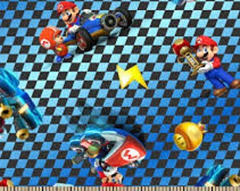 """Mario checkered toss fabric for Springs Creative, 43"""" wide, 100% cotton, by the half yard"""