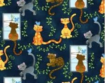 """Cats and Birds Novelty, Fabric Traditions, by the half yard, 43-44"""" wide, 100% cotton, cat fabric, animal fabric, cotton fabric"""
