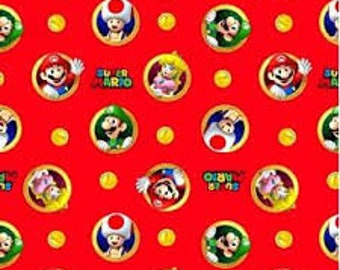 """Super Mario Badges, Nintendo by Springs Creative fabric - by the half yard - 43-44"""" wide, 100% cotton - video game fabric - cartoon fabric"""