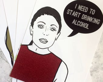 Start Drinking- Real Housewives Bethenny Frankel inspired Illustration/Art Print
