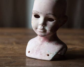 Old antique shabby Earthenware head doll