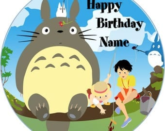 EDIBLE Wafer Totoro Birthday cake Topper