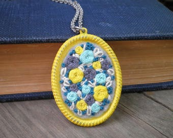 Embroidered Rose Cameo Necklace Floral Roses Embroidery Long Chain Necklace Flower Pendant Necklace Rose Garden Fiber Art Jewelry Gift