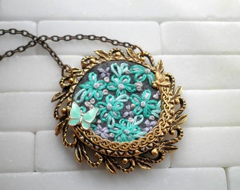 Embroidered Necklace  Teal Blue Flower Embroidery Necklace  Daisy & Insect Floral Collage Necklace  Bohemian Fiber Art Jewelry Gift For Her