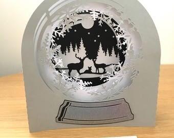 3D Snow globe card, 3d Christmas card, diorama, Christmas box card, special Christmas card, silver winter card, non-religious greetings card
