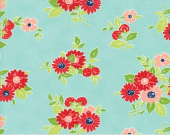 "Moda ""The Good Life"" by Bonnie and Camille ~ SUMMER ~ Aqua 55151 12 ~ Floral ~ Half Yard Increments"