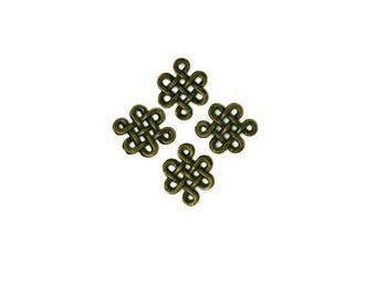 Set of 6 Chinese knots bronze antique 12 mm x 15 mm