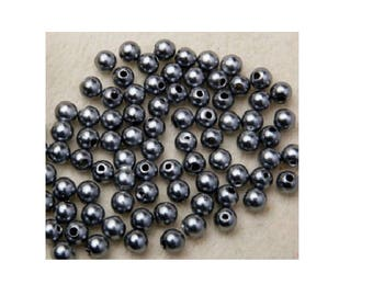 set of 100 Acrylic beads gray 4 mm