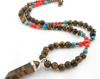 Tigers Eye Necklace, Turquoise Necklace, Red Coral Necklace, Gemstone Jewelry, Tigers Eye Jewelry, Turquoise Jewelry, Red Coral Jewelry