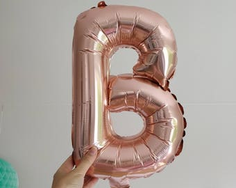 "B  letters Alphabet 16"" Inch Rose Gold,Silver or Gold foil balloons letter gold color mylar balloons parties wedding bridal shower"
