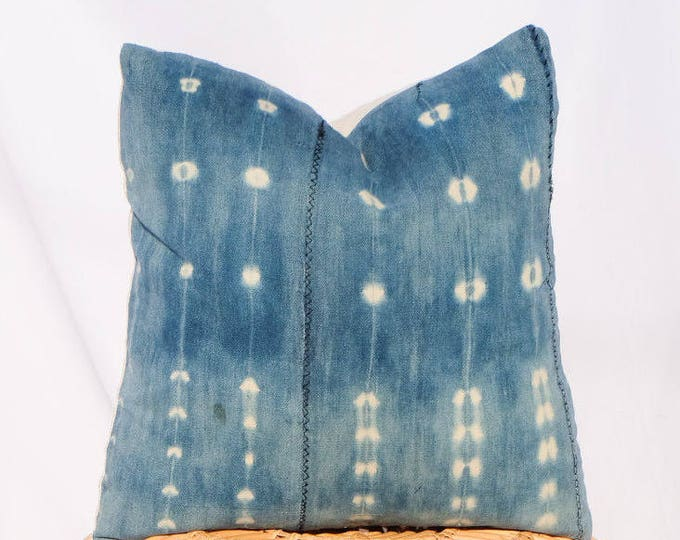 Indigo Mudcloth Pillow / 20x20 / Shibori, Tie Dye