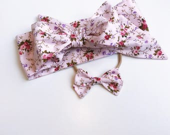 Headwrap topknot bow headband vintage pink floral set newborn kids hairbow accessories