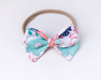 Charley - soft pastel floral signature bow heaband