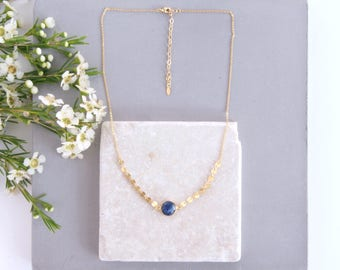 Blue Suvan - set round Sapphire necklace, fancy chain / 24 carat gold.