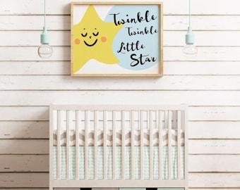 Twinkle twinkle printable, twinkle twinkle little star, nursery art, Instant Digital download, baby shower, nursery wall art, little tiger