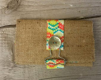 Tobacco / cigarette burlap case recycled