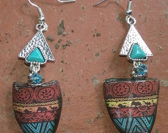 Tribal Earrings~Ceramic Earrings~Australian Seller~Boho Earrings~Gypsy Earrings~Tribal Jewellery~Hippy Jewellery~African Jewellery