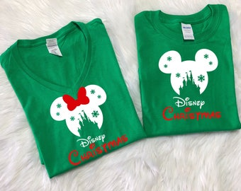 GREEN Disney SNOWFLAKE CASTLE with Disney christmas, Disney inspired shirt, Family Vacation shirts,Disney christmas shirts, Family vacation