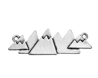 2 connectors shaped mountain in silvered Metal 4,6 cm