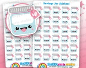 30 Cute Savings Jar/Money Planner Stickers, Filofax, Erin Condren, Happy Planner,  Kawaii, Cute Sticker, UK