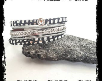 Black and silver leather and suede Cuff Bracelet