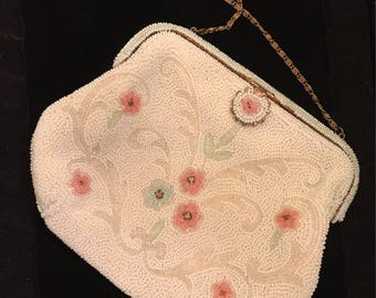 Parisian, Charming Beaded Evening Bag With Sweet Floral Touches