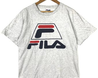 Rare !! Vintage 90s FILA ITALY Biella Italia Big Logo Spell Out Whitish Grey T Shirt Medium Size