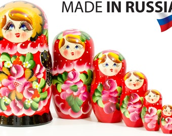 """Russian Nesting Doll - BIG SIZE - 7 dolls in 1 - Russian """"Polkhov Maidan"""" Traditional - Hand Painted in Russia"""
