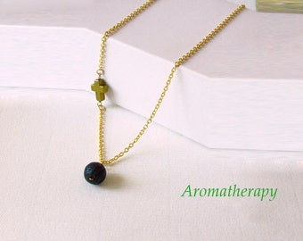 Essential Oil Diffuser Black Lava Rock Necklace, Cross Charm Lava Stone Necklace, Sterling Silver, Off Side Cross Necklace, Sideways Cross