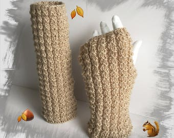 Fingerless gloves, soft warm and comfortable, light beige wool women/adults/teens