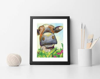 Cow Art - Digitally Painted Signed Cow Print 8x10 - Cow Wall Art - Colorful Cow Painting - Cow Print Wall Art - Whimsical Cow Artwork