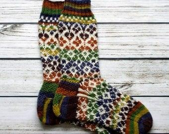 Rainbow Socks - Fair Isle Socks - Handmade Knit Socks - Wool Socks - Knitting Socks - Women Socks
