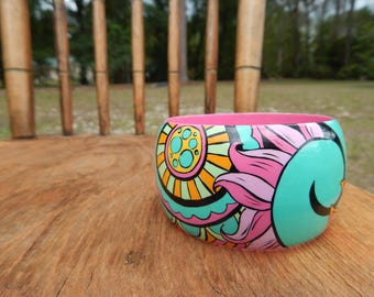 Pink and Green Swirled Bracelet hand painted wooden