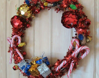 Pre-Lit Deck The Halls Wreath / Motion Sensing Tweeting Cardinal / Christmas Lights, Bells, Garland, Presents, Ornaments, Candy Canes