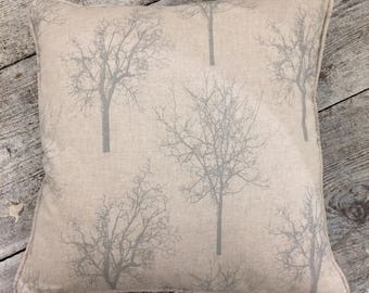 Feather filled green tree linen fabric cushion,
