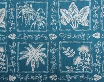 Hawaiian Cotton Fabric Remnants of Native Hawaiian Fauna in Teal Blue