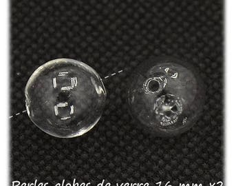 Beads 16 mm [Blown Glass Globe Beads] x 2 glass globes