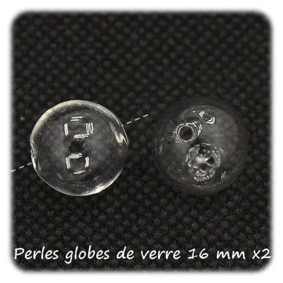 Beads 16 mm [Blown Glass Globe Beads] x 2 glass globes