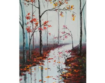 Oil painting, Paintings, Landscape Art, canvas, Autumn, Nature, Picture, Palette knife, Forest, 50х40 cm, Free shipping !