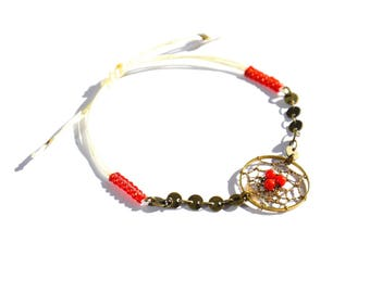 Bronze and Red dream catcher bracelet