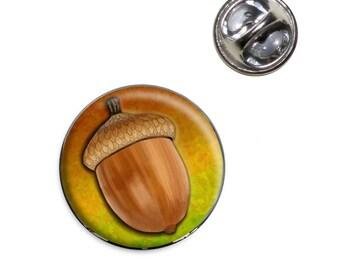 Autumn Acorn Lapel Hat Tie Pin Tack