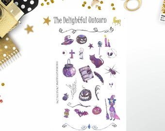 Halloween stickers, watercolor stickers, watercolour stickers, cute stickers, gothic stickers, planner stickers, planner accessories