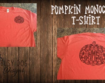 Fall pumpkin monogram tshirt. Available in short sleeve or long sleeve.