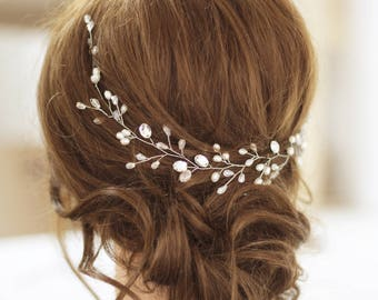 Bridal hair vine Wedding headpiece Pearl hair vine Crystal long hair vine Bridal hair accessories Crystal hair vine Freshwater pearls