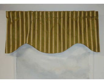 100% Dupioni Silk Olive Green and Gold Stripe Valance